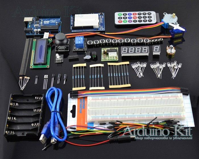 Arduino UNO - Starter Kit UNO R3 Step Motor, Servo, 1602 LCD, Breadboard 840, Jumper Wire