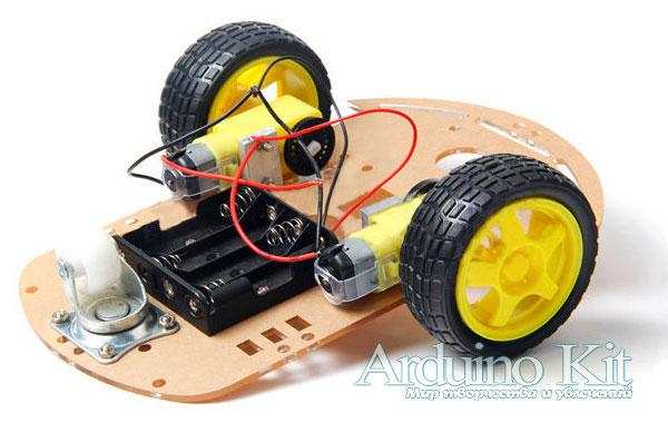 Вид основание для движущегося робота на Arduino. Smart Car Chassis 2WD