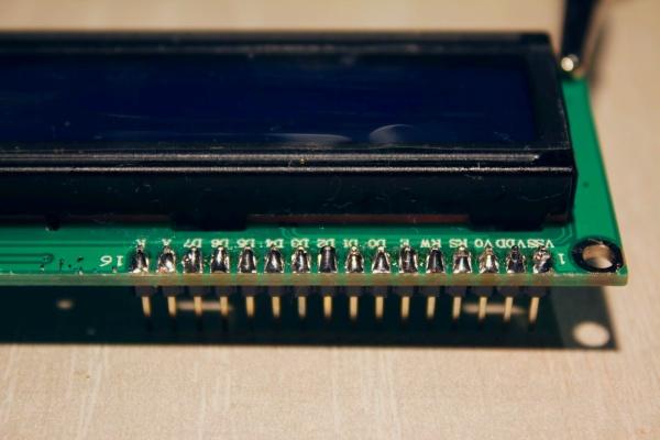 Внешний вид припаянного LCD разъёма идущего к Arduino