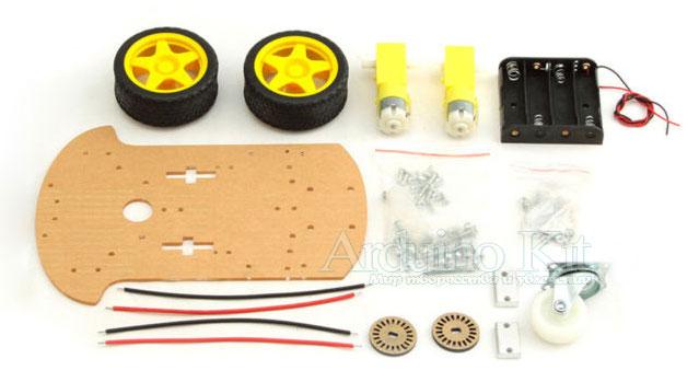 В разобранном виде. Smart Car Chassis 2WD Kit - Шасси для робота на Arduino
