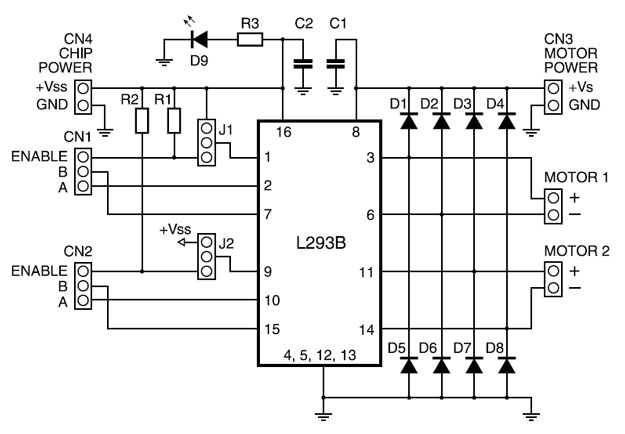 Принципиальная схема модуля управления двигателями на микросхеме LM293B. Circuit-lm293B