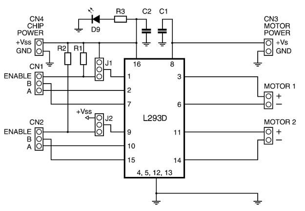 Принципиальная схема модуля управления двигателем на LM293D. Сircuit-lm293d