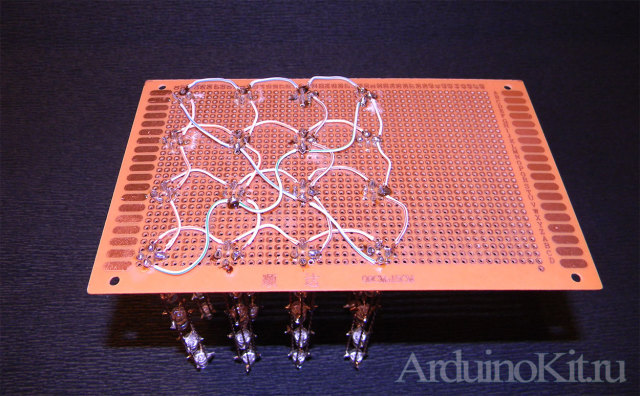 RGB LEDs cube 4x4x4 - вертикальные, горизонтальные, поперечные ряды на плате