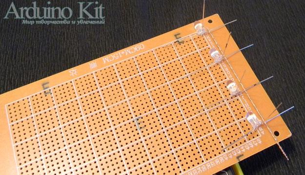 Собираем столбик используем для этого дырочки в плате. RGB Cube 4x4x4