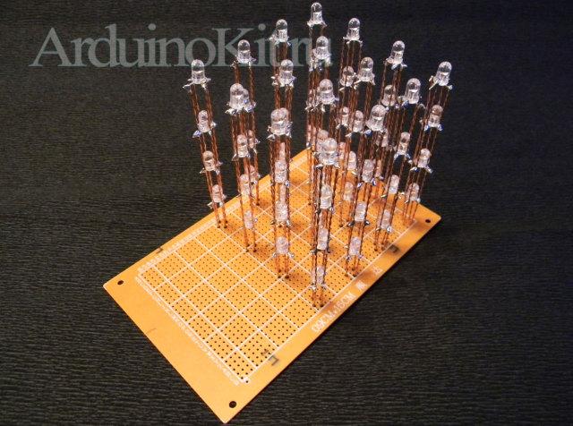 Куб из RGB светодиодов 4x4x4 готов к подключению к Arduino UNO