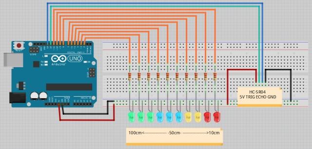 Схема соединений. Парктроник на Arduino. Урок