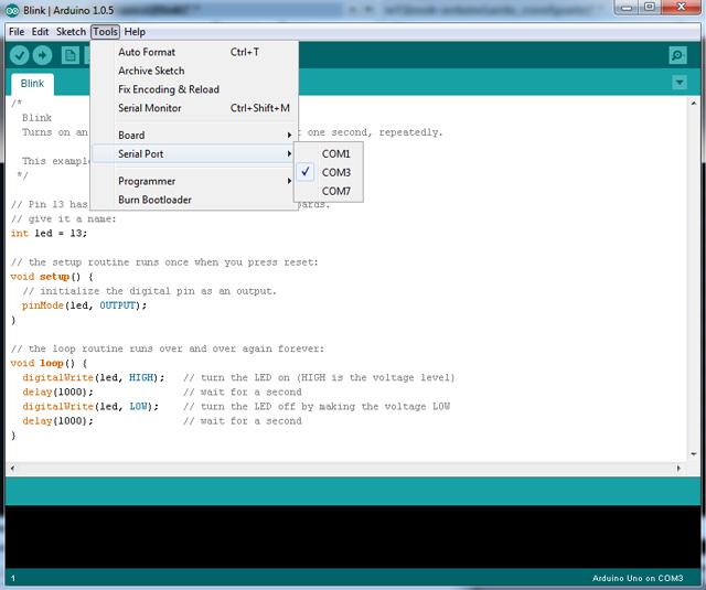 Рисунок как правильно выбрать порт соединения Arduino IDE с компьютером