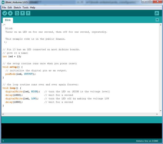 Рисунок среды программирования Arduino IDE. Со скетчем Урока №1 (blinking led)