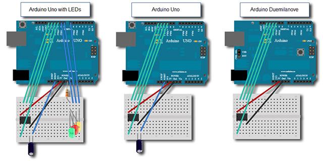Способ подключения Микроконтроллера Attiny85 к Arduino UNO, Duemilanove. Программирование