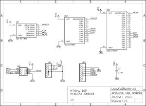 Схеиа программатора Attiny через Arduino ISP