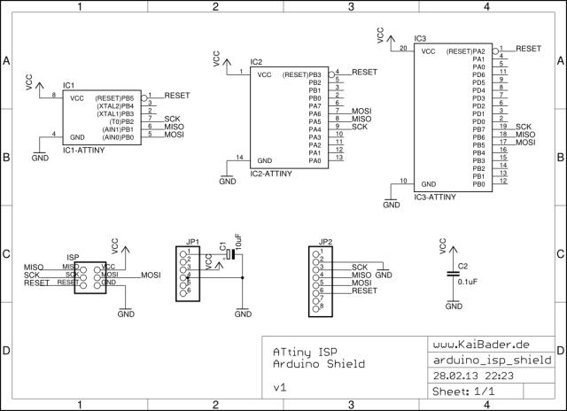 Принципиальная схеиа программатора Attiny через Arduino ISP