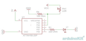 ATtiny85-20PU - circuit simple phptocell blink - фотореле маяк