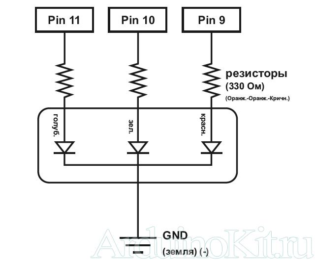 Принципиальная схема к уроку №3. Arduino и Управление трехцветным светодиодом