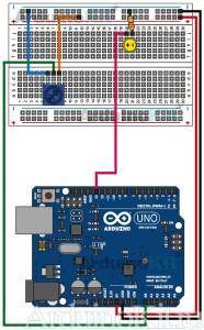Arduino макетная плата к уроку 2 принципиальная схема