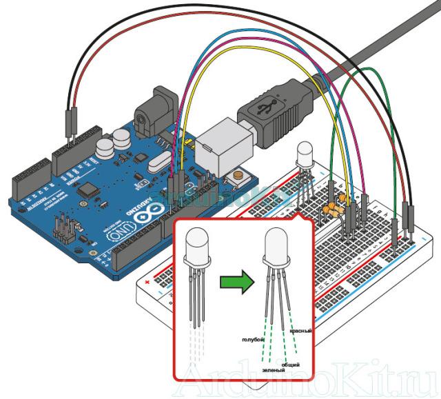 Вид собранной конструкции на макетной плате. Урок №3. Arduino и Управление RGB LED