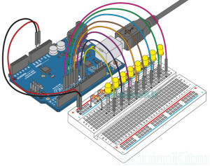 Миниатюра собранного макета к уроку №4. Arduino LEDs-dance. Код программы