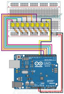 Принципиальная схема к уроку №4 - Arduino - Танцующие светодиоды