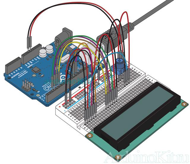 Внешний вид собранного урока №10. Макетная плата. Arduino и ЖКИ