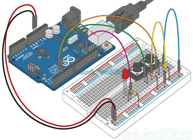 Внешний виду собранного урока №5. Макетная плата. Arduino и Кнопки