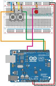 Схема соединений урока 5 - Arduino -Кнопки