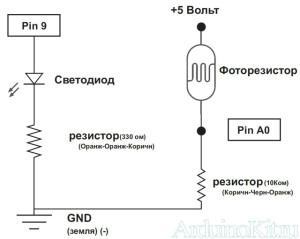 Принципиальная схема к уроку №6 - Arduino и Фоторезистор