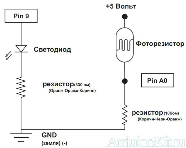 Принципиальная схема к уроку №6. Arduino и Фоторезистор