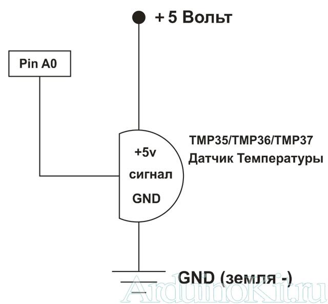 Вид принципиальной схема к уроку №7. Arduino и Датчик Температуры