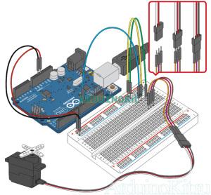 Внешний виду собранного урока №8. Arduino и Серводвигатель