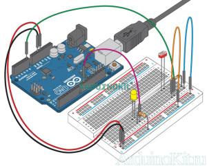 Вид собранного устройства на макетной плате. Arduino и Фоторезистор. Урок 6 - Код программы