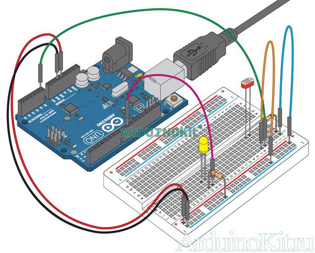 Внешний виду собранного урока №6. Arduino и Фоторезистор