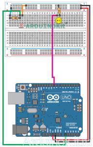 Схема соединений урока 6 - Arduino - Фоторезистор