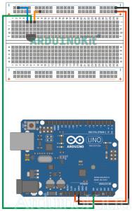 Схема соединений урока 7 - Arduino - Датчик Температуры