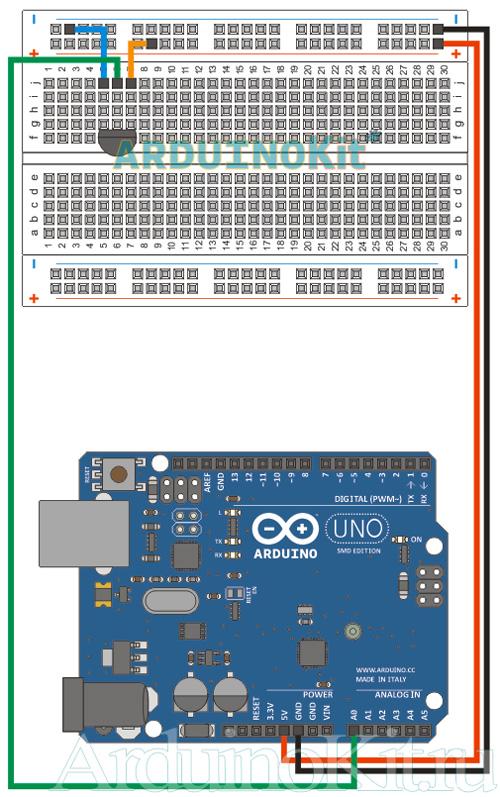 Схема соединений платы Arduino и Датчик Температуры. Урок №7