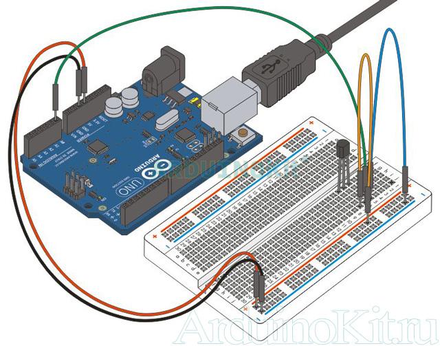 Внешний виду собранного урока №7. Arduino и Датчик Температуры