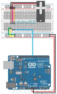 Внешний вид схемы соединений к уроку №8. Arduino и Серводвигатель