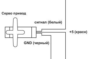 Миниатюра к статье. Принципиальная схема к уроку №8. Arduino и Серводвигатель