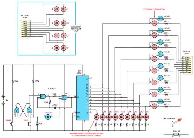 Вид принципиальной схемы тестера для витой пары категории 5e