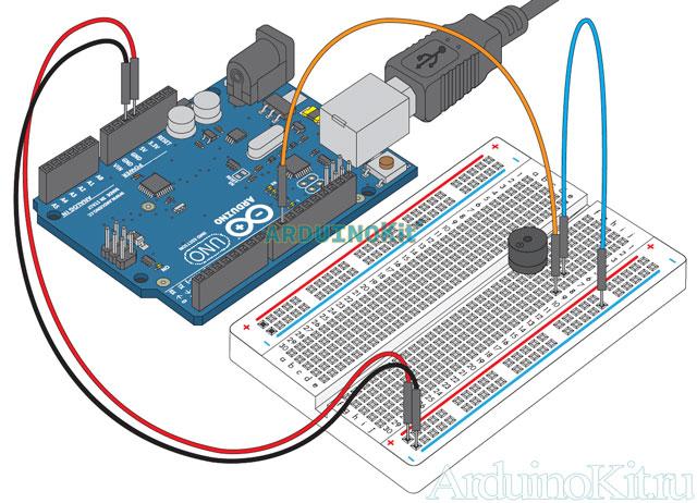 Внешний виду собранного макета к уроку №11. Arduino и Пъезо