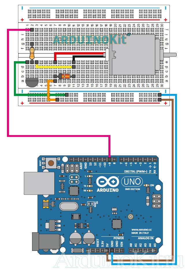 Наглядный вид схемы электрических соединений Arduino UNO и Электромотора к уроку 12