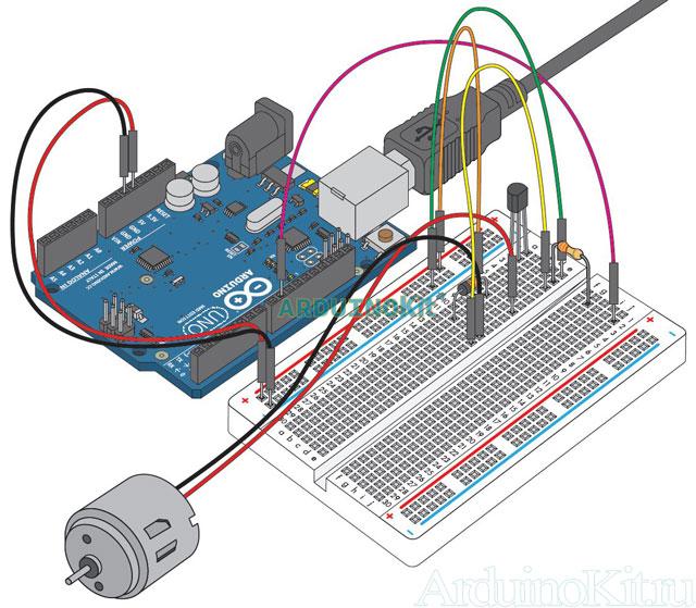 Внешний виду собранного макета к уроку №12. Arduino и Электромотор