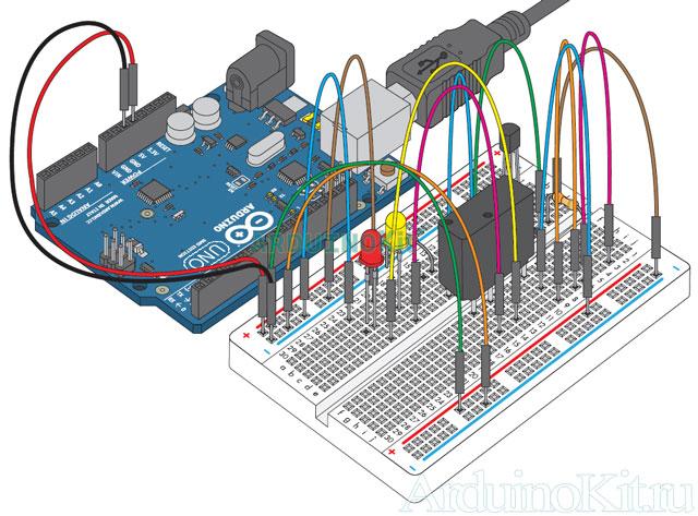 Внешний виду собранного макета к уроку №13. Arduino и Реле