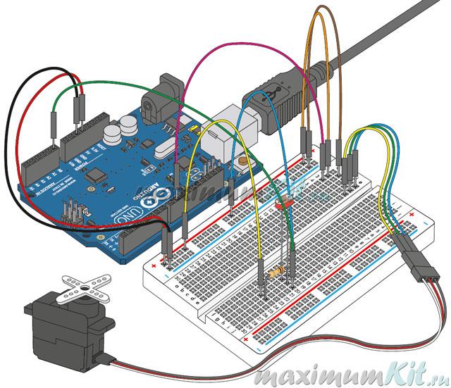 Внешний вид проекта. Замена Датчика Изгиба фоторезистором. К уроку 9. Arduino и Flex Sensor