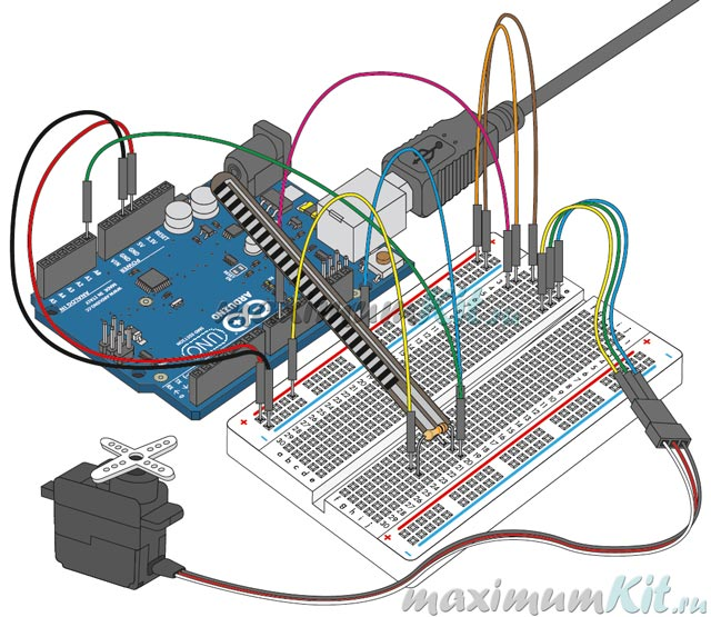 Внешний вид проекта собранного на макетной платек к уроку 9. Arduino и Flex Sensor