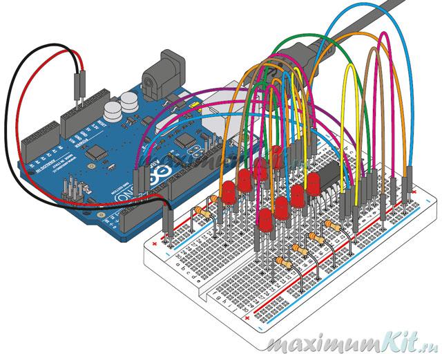 Вид законченной работы собранный на макетной плате. Arduino и Регистр Сдвига и светодиоды