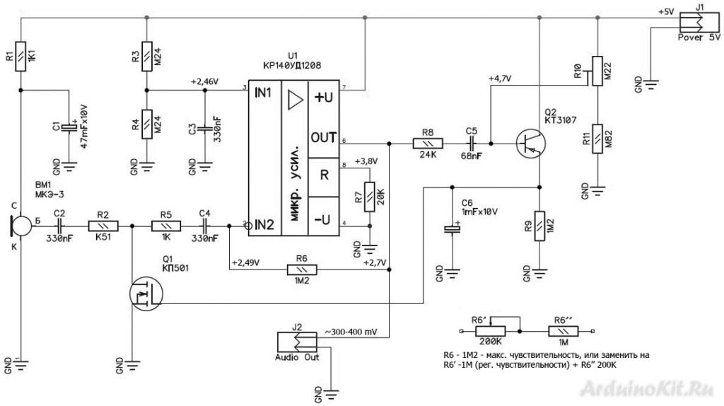 Принципиальная схема микрофонного усилителя для цветомузыки