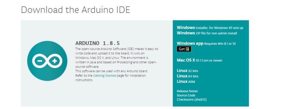 Страница скачивания установщика Arduino IDE