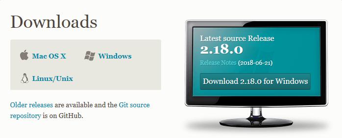 Страница скачивания установщика Git