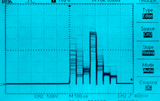 Осциллограмма выделяемых частот микросхемой MSGEQ7