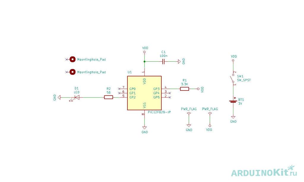 Схема симулятора горения свечи на микроконтроллере AVR